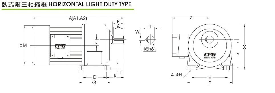 卧式卧式缩框减速电机PCH..SZ产品尺寸图